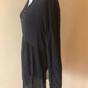 Tops - Long sleeve thin black shirt with button front NWT
